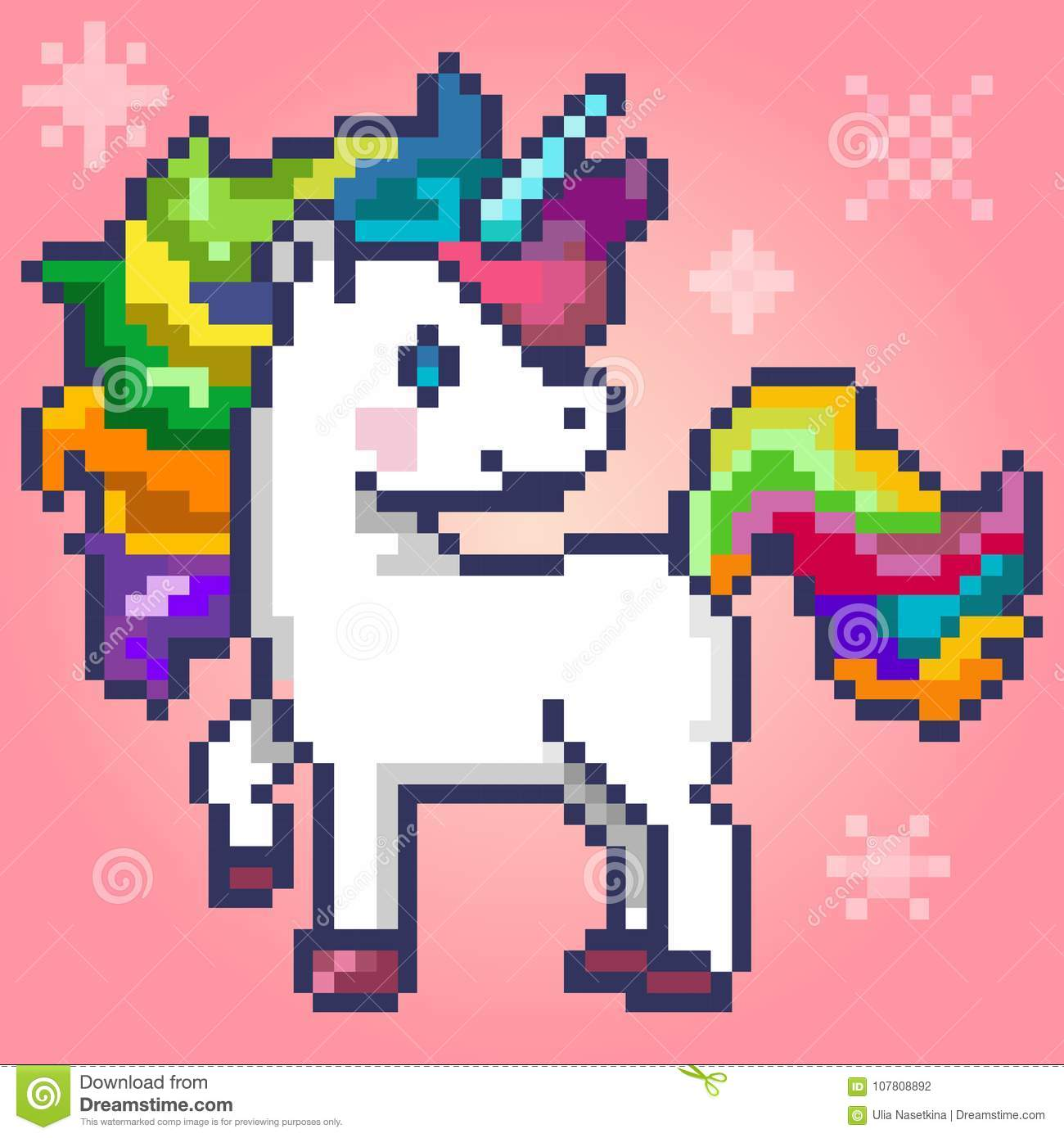 Cute Magic Unicorn, Pixel Art Editorial Photography