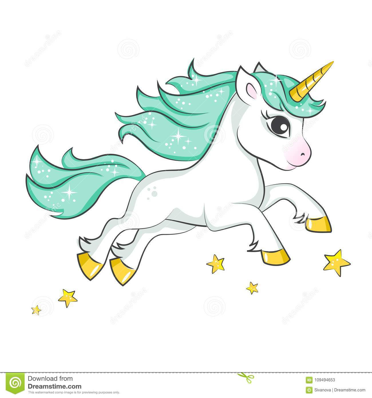 37d269aa Cute magical unicorn. Vector design isolated on white background. Print for  t-shirt or sticker. Romantic hand drawing illustration for children.