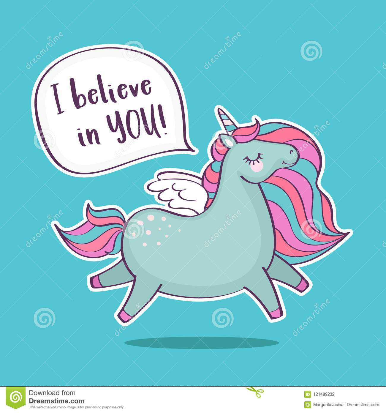 Cute Magical Unicorn With Inscription I Believe In You Stock Vector