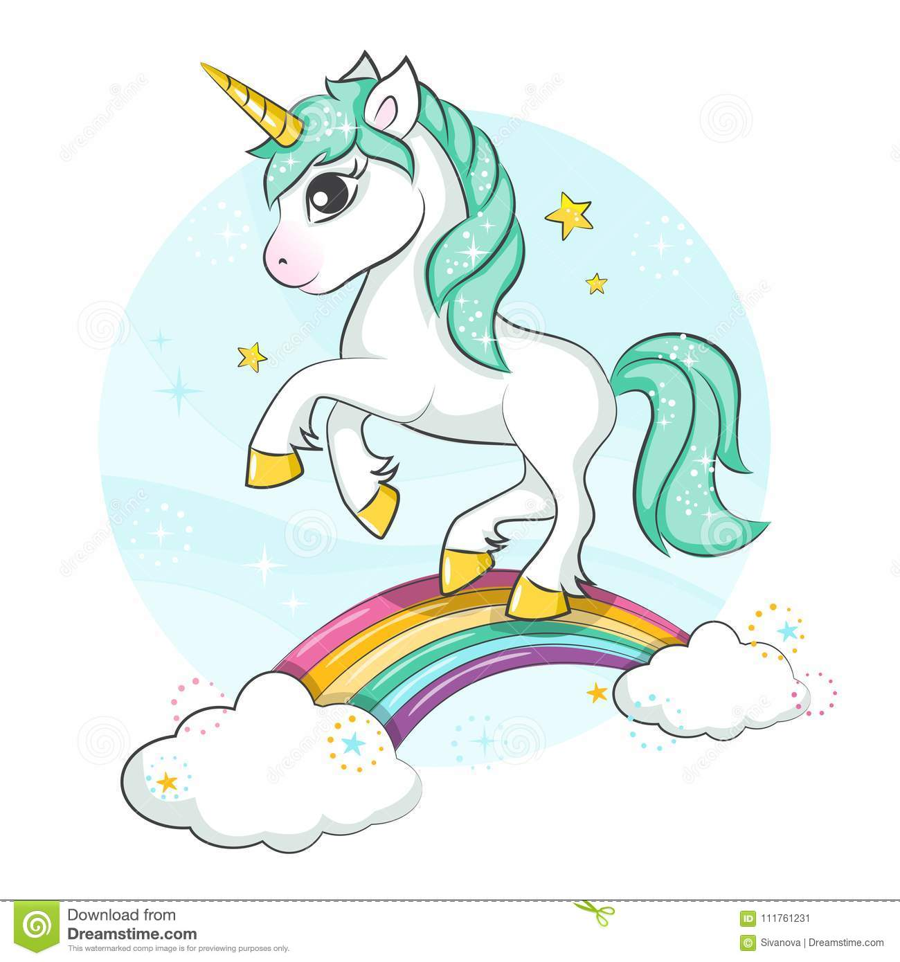 Cute Magical Unicorn. Little Pony. Stock Vector - Illustration of ...
