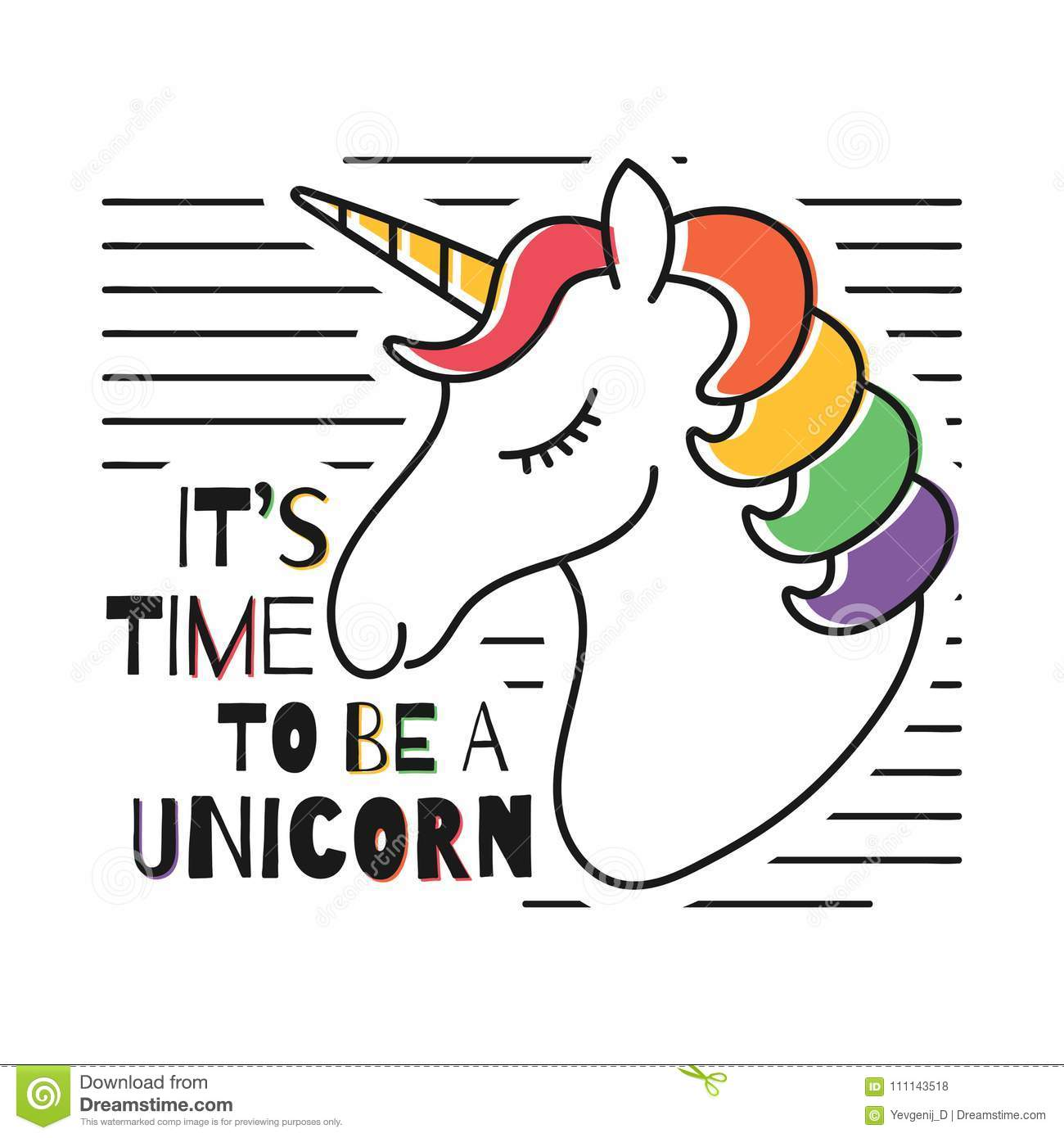 Cute magical unicorn for t-shirt print. Childish t-shirt design with rainbow colors