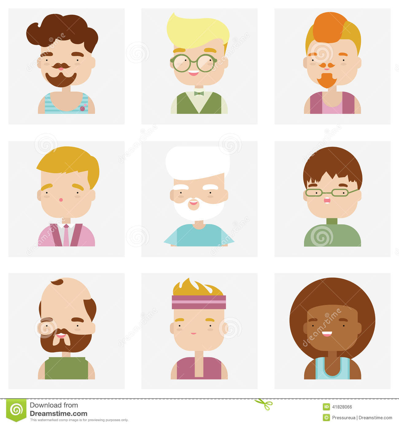 Cute Character Design Illustrator : Cute male character faces flat icons stock vector