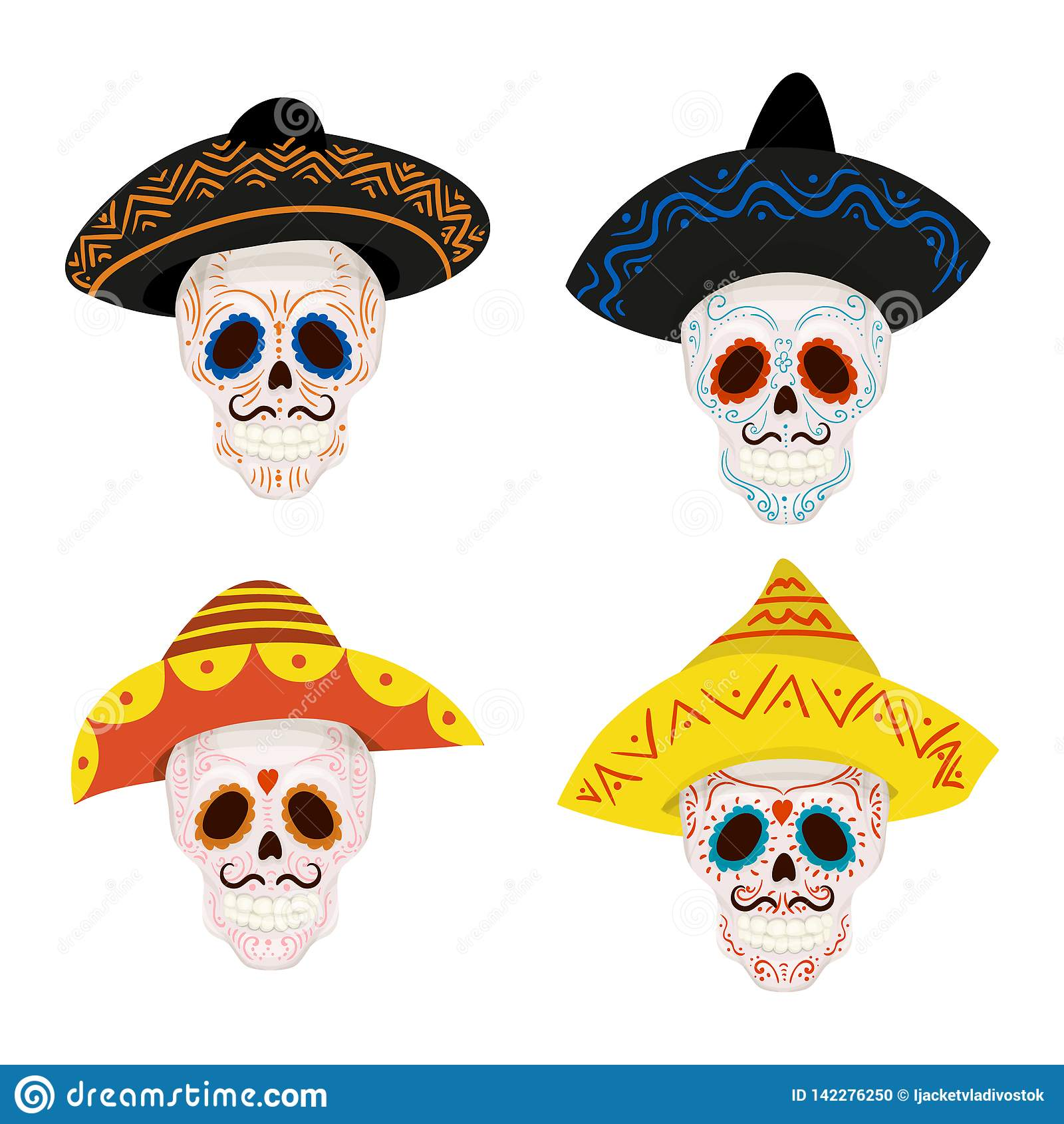 Cartoon Mexican Sugar Skull Illustration For Day Of The Dead Stock Vector Illustration Of Painted Mexico 142276250