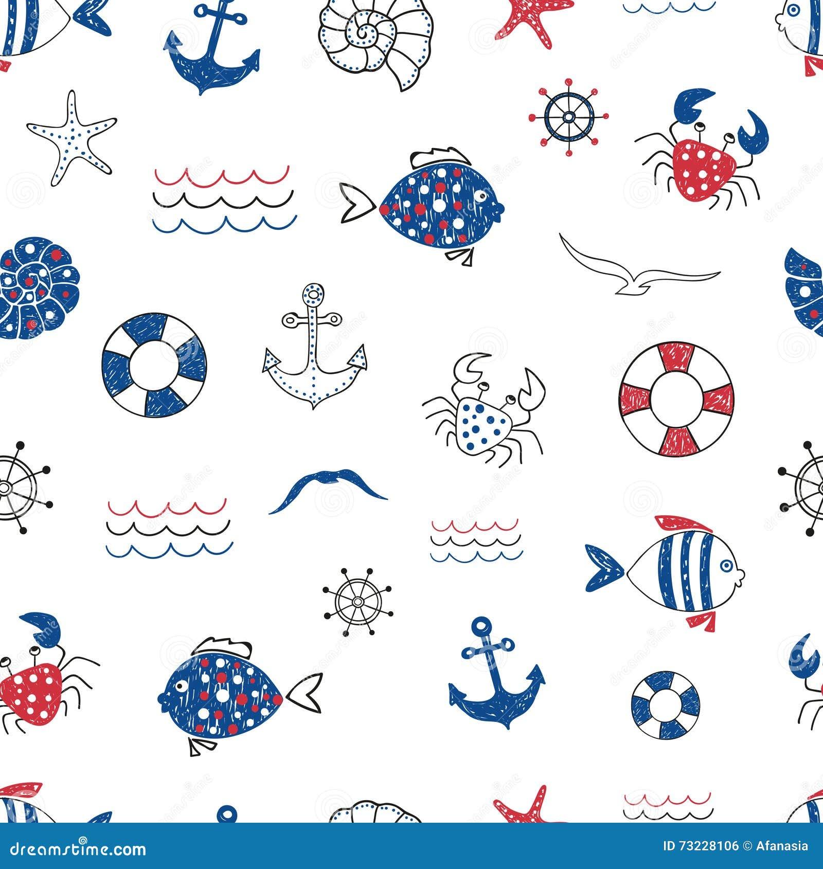 Vector Seamless Fish Pattern Cartoon Vector ...