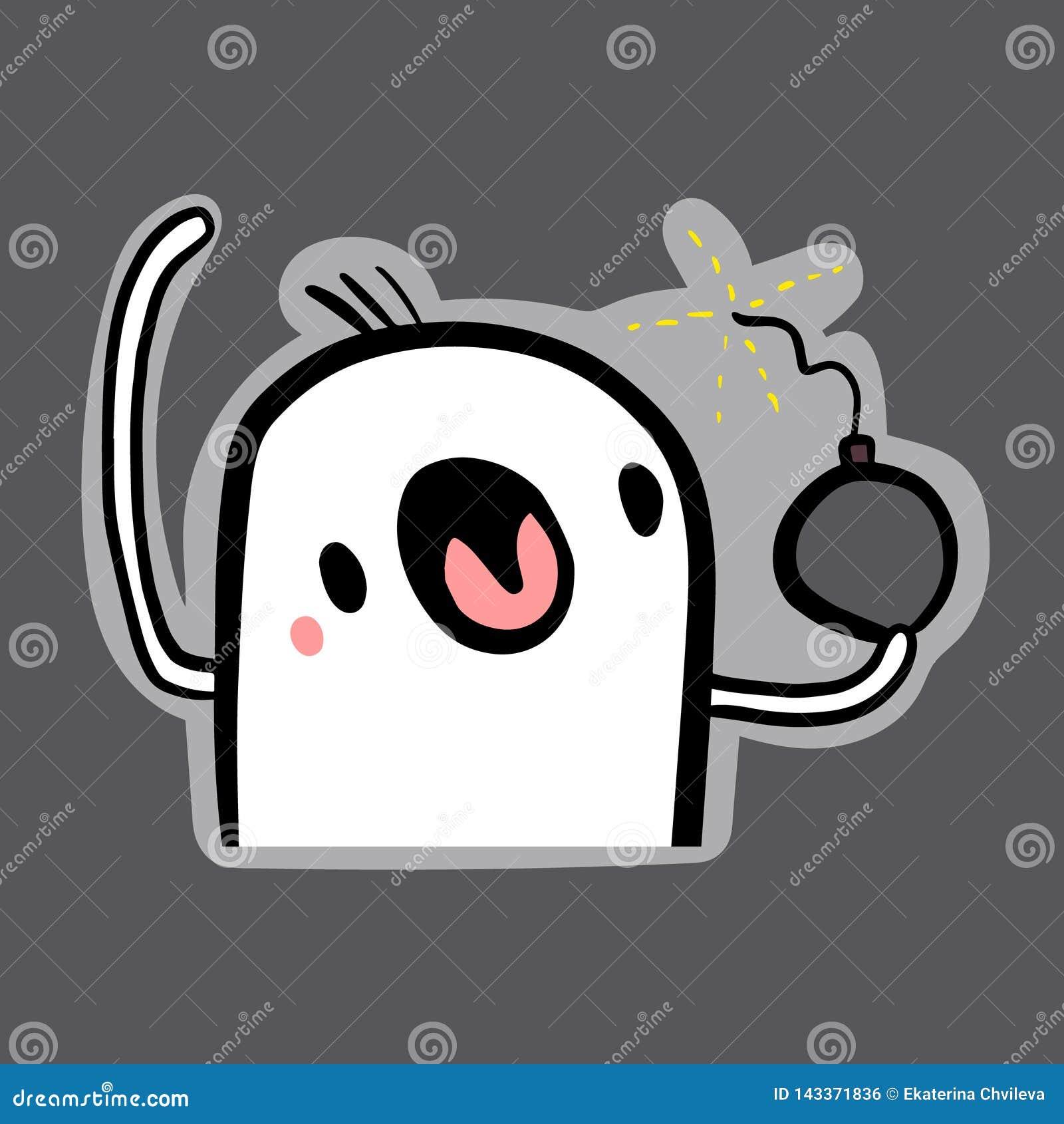 Cute marshmallow holding bomb hand drawn illustration sticker in cartoon style
