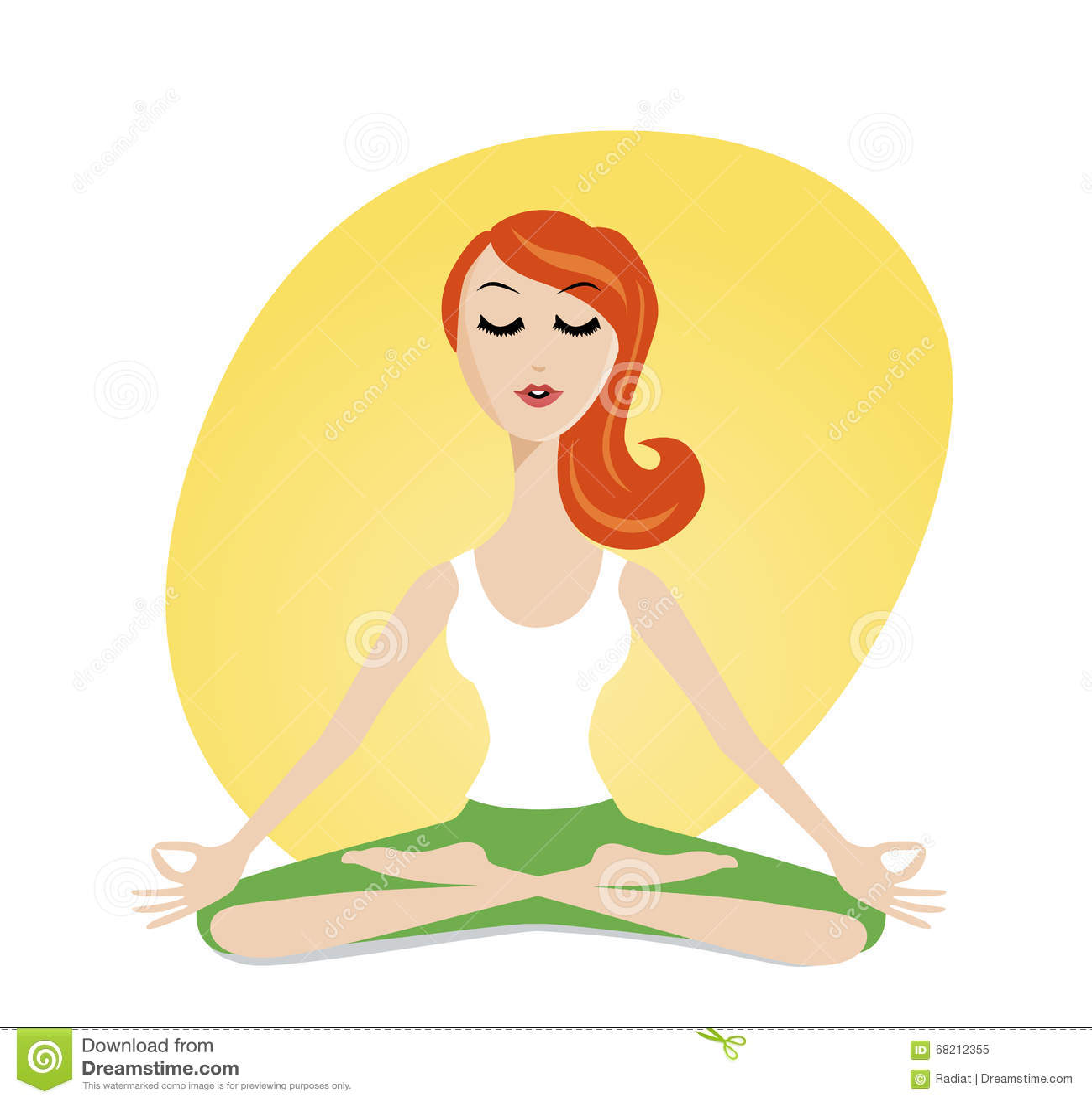 Cute Meditating Girl In Cartoon Style Illustration 68212355 Megapixl