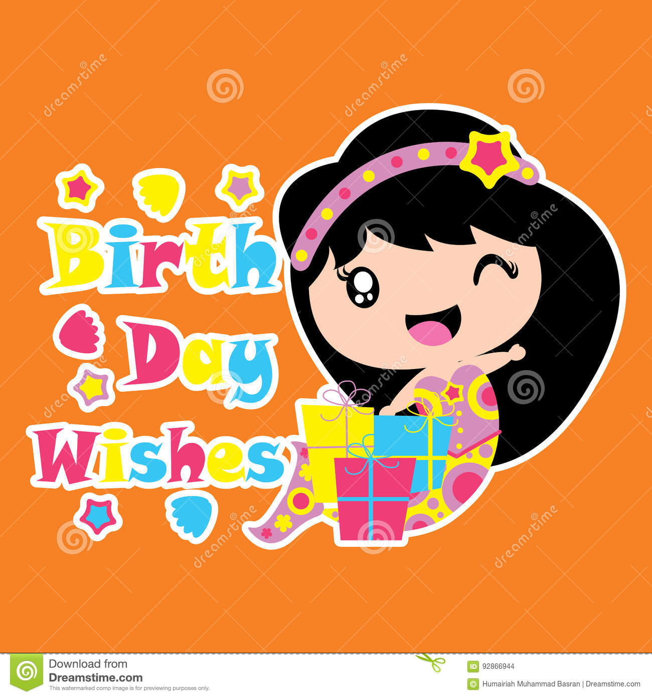 Cute Mermaid Is Happy With Birthday Gift Vector Cartoon Birthday