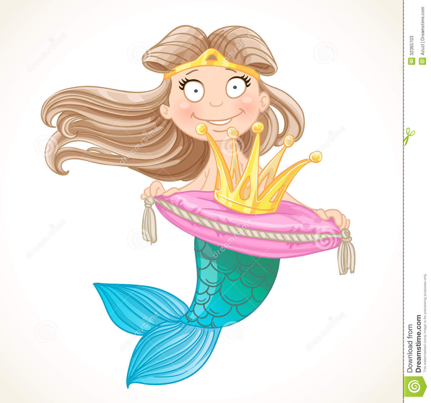 Cute Mermaid Holding A Crown On The Pillow Stock Vector