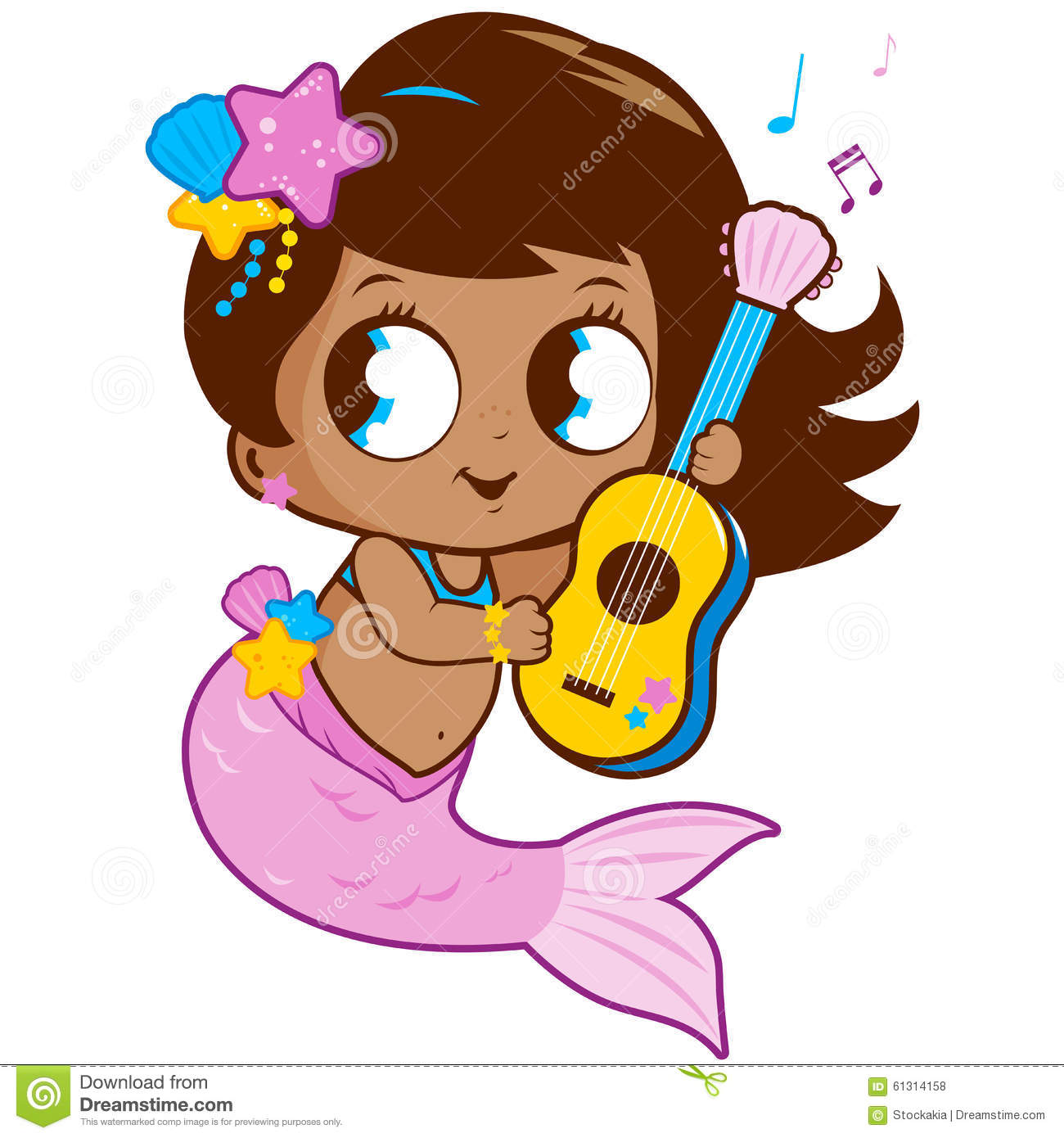 Cute mermaid playing music with her guitar.