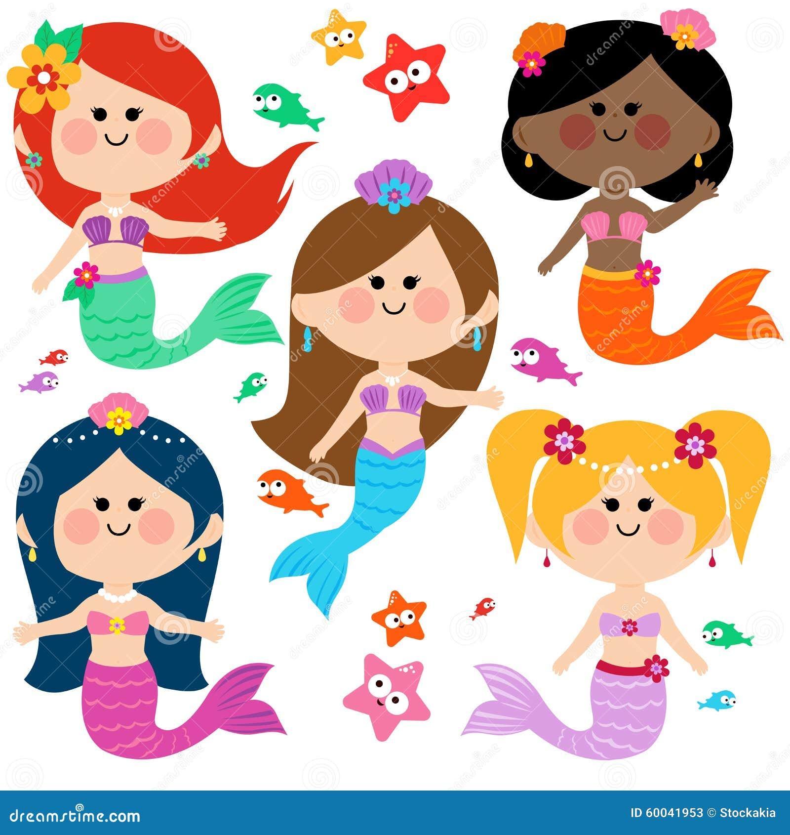 Cute mermaid vector set stock vector. Illustration of ...