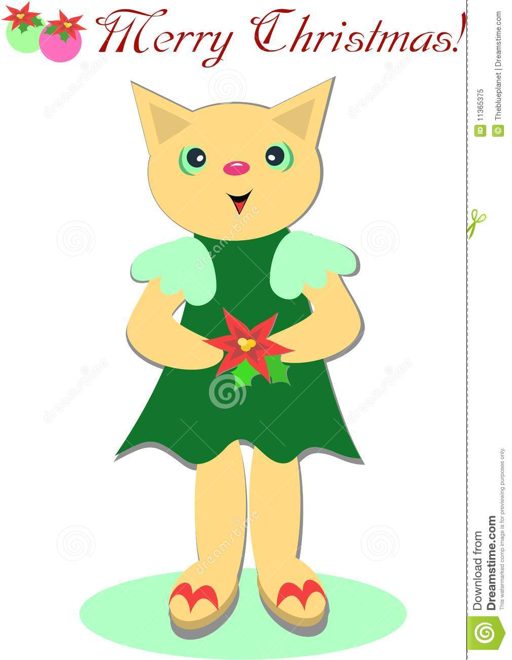 download cute merry christmas cat stock vector illustration of leaf 11365375 - Merry Christmas Cat