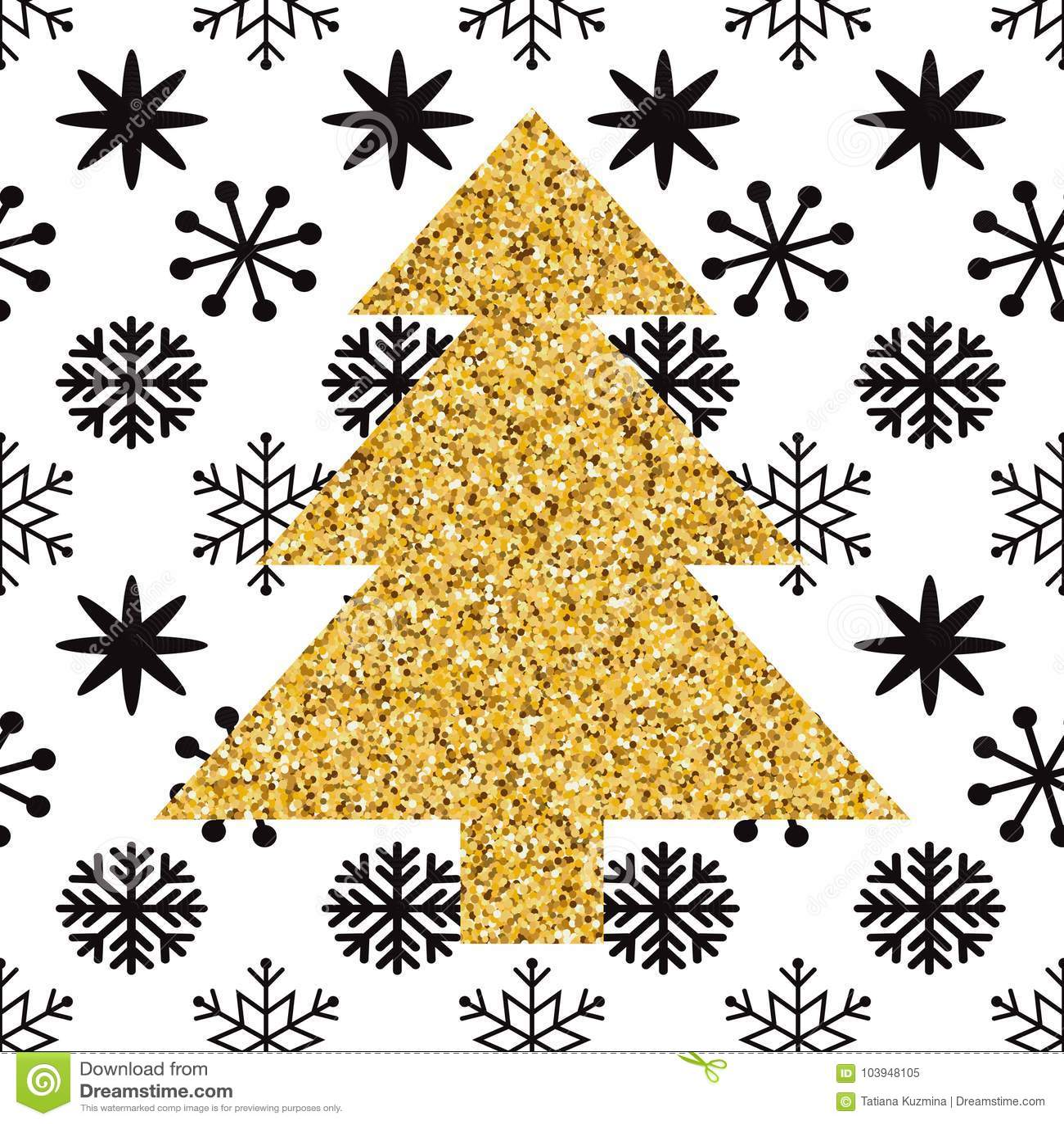 - Cute Mery Christmas Print Gold Sparkle Christmas Tree And Black