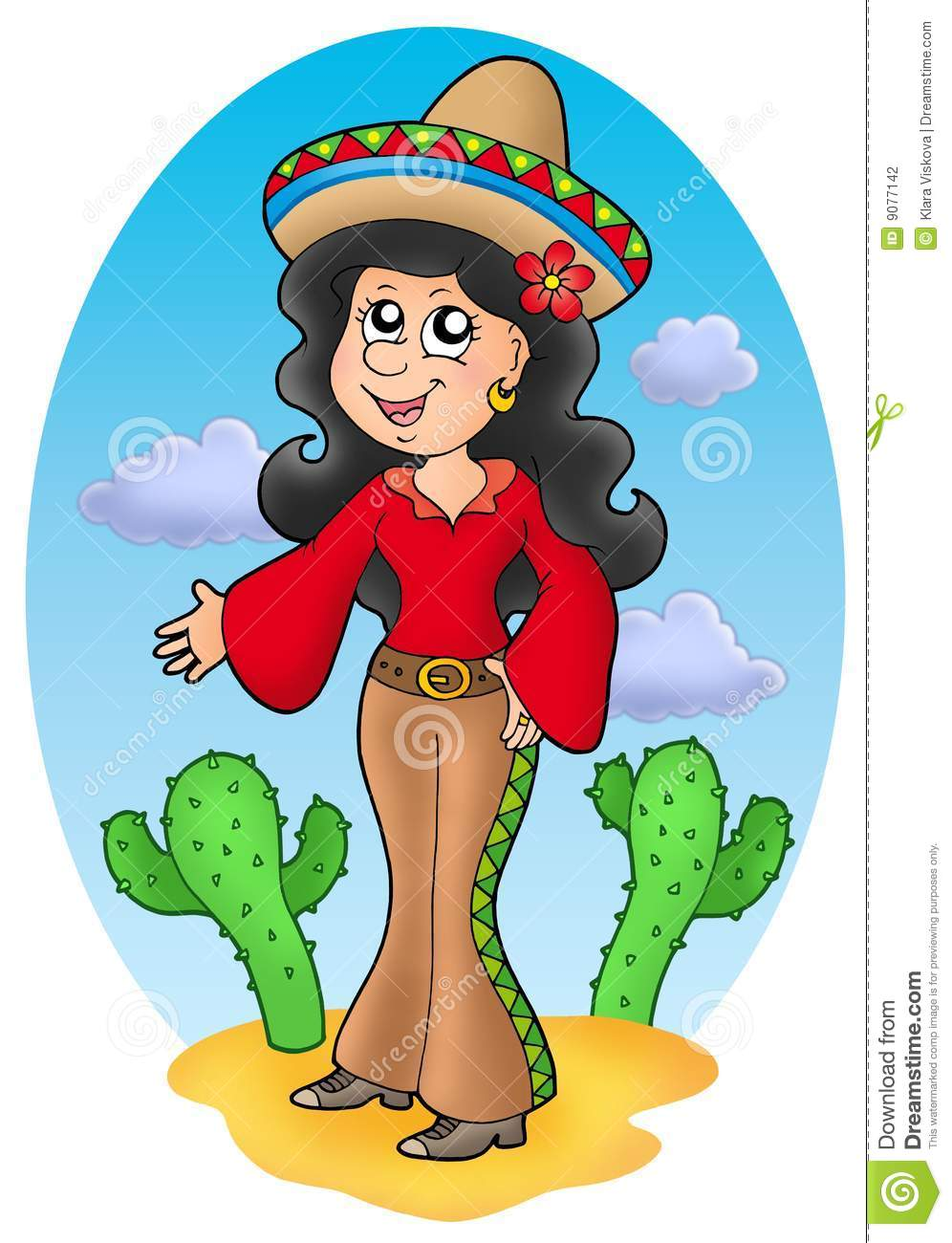 Cartoon Characters Mexican : Cute mexican girl in desert stock illustration