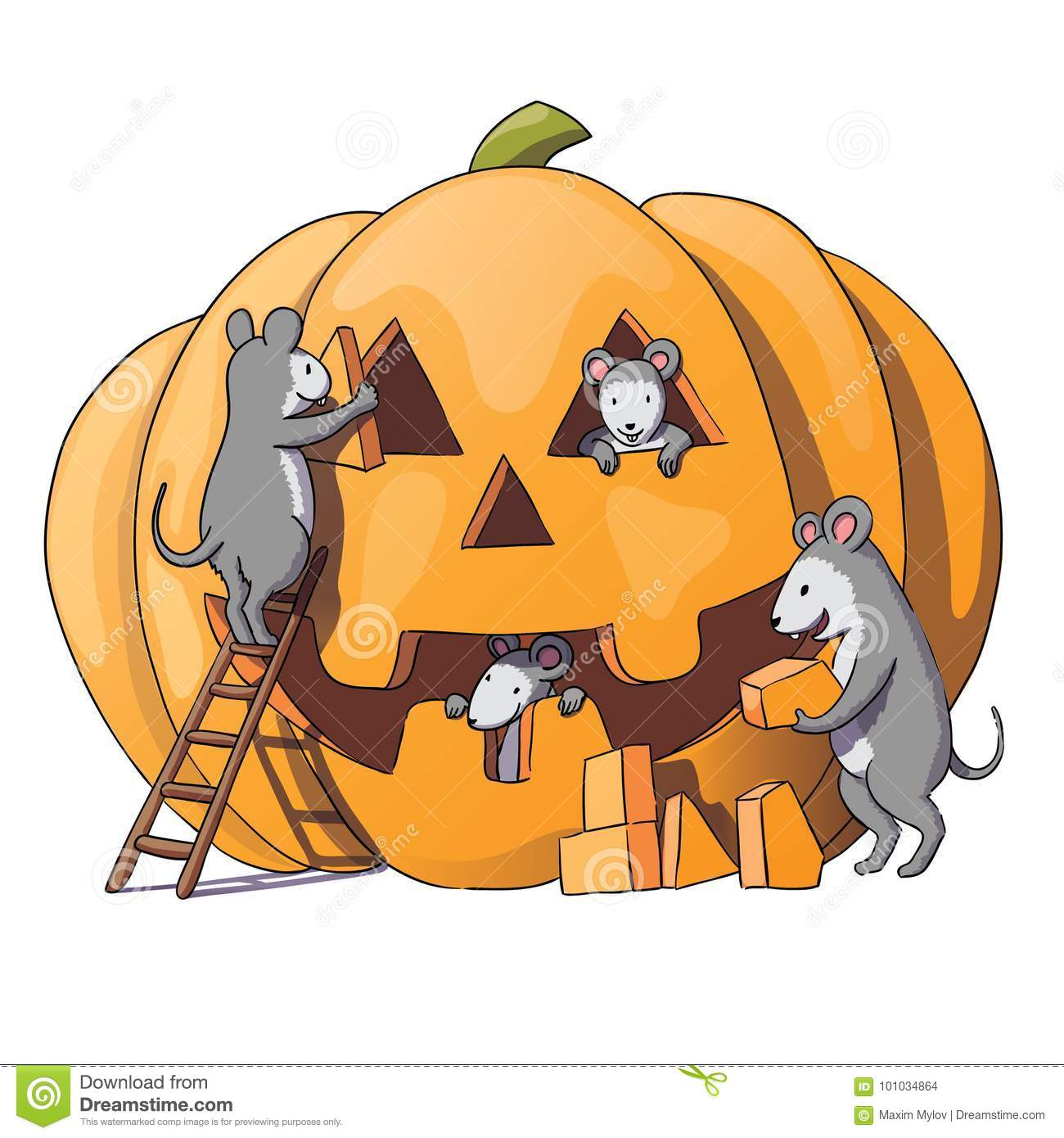 cute mice characters prepare for halloween. sly gray mouse, rat
