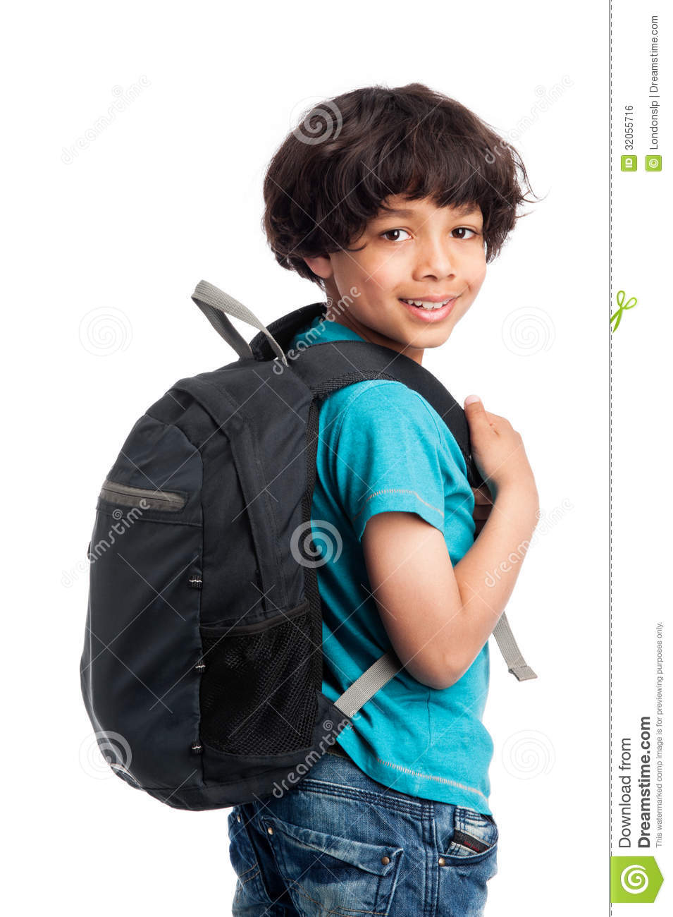 Cute Mixed Race Boy With Rucksack On Back Stock Photo