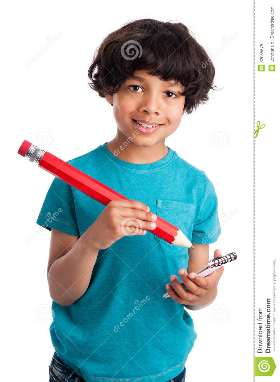 Cute Mixed Race Kid With Giant Pencil Royalty Free Stock