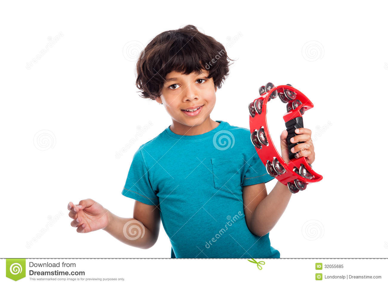 Cute Mixed Race Kid With Tambourine Royalty Free Stock