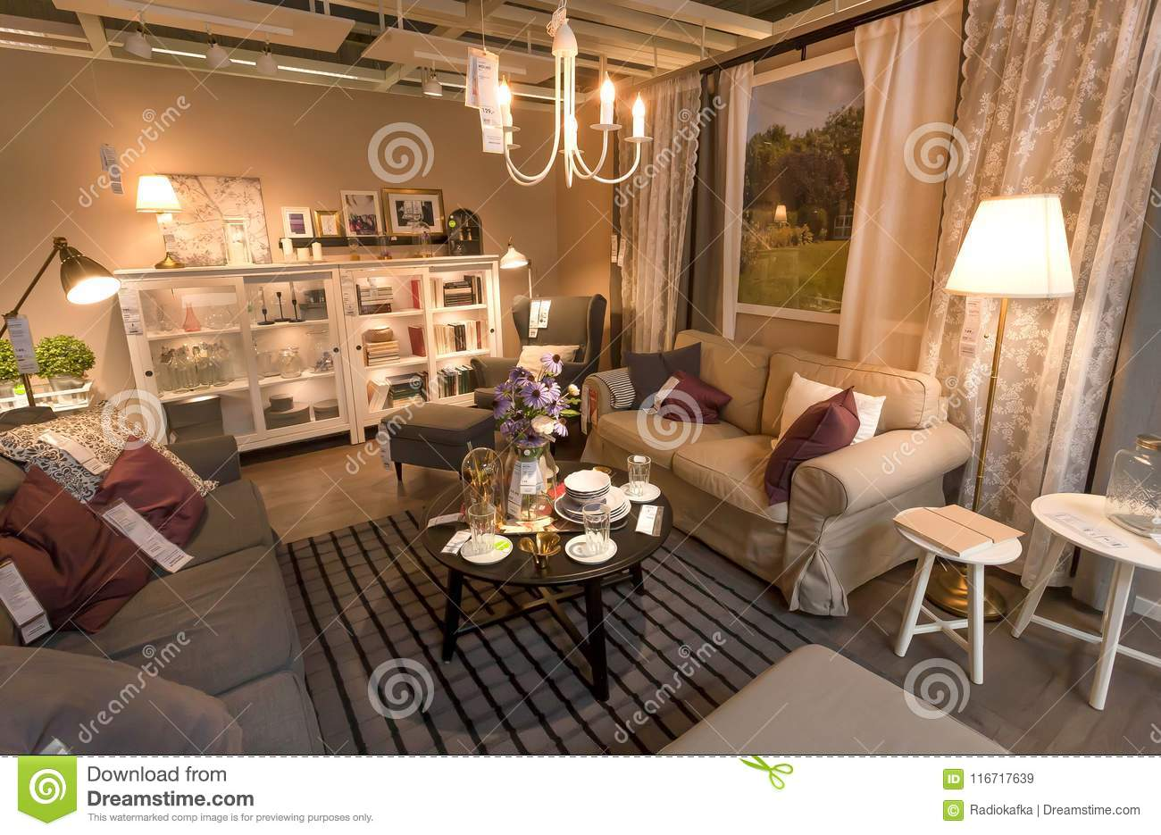 Warsaw poland apr 10 cute modern living room in large ikea store with furniture decor lamps and many products for home on april 10 2018