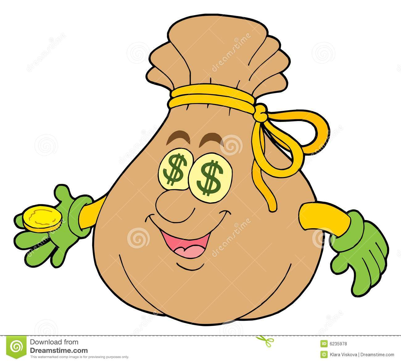 Cute money sack stock vector. Illustration of sale, dollar ...