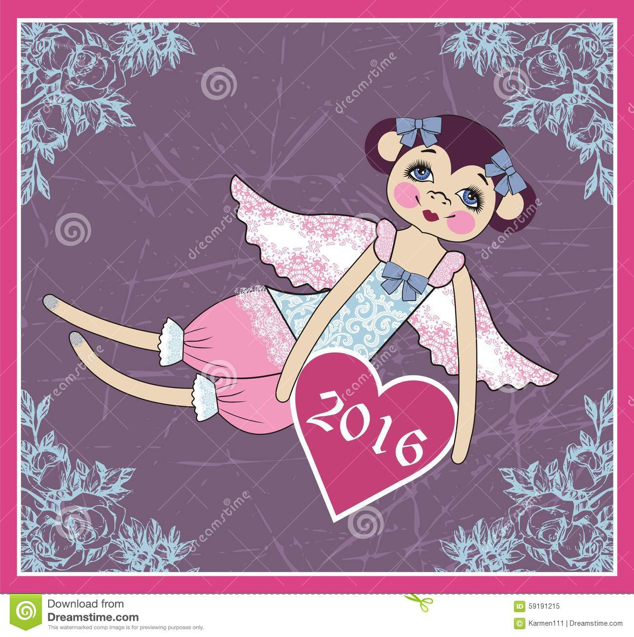 Cute monkey angel with wings symbol new year 2016 for Wildlife christmas cards 2016