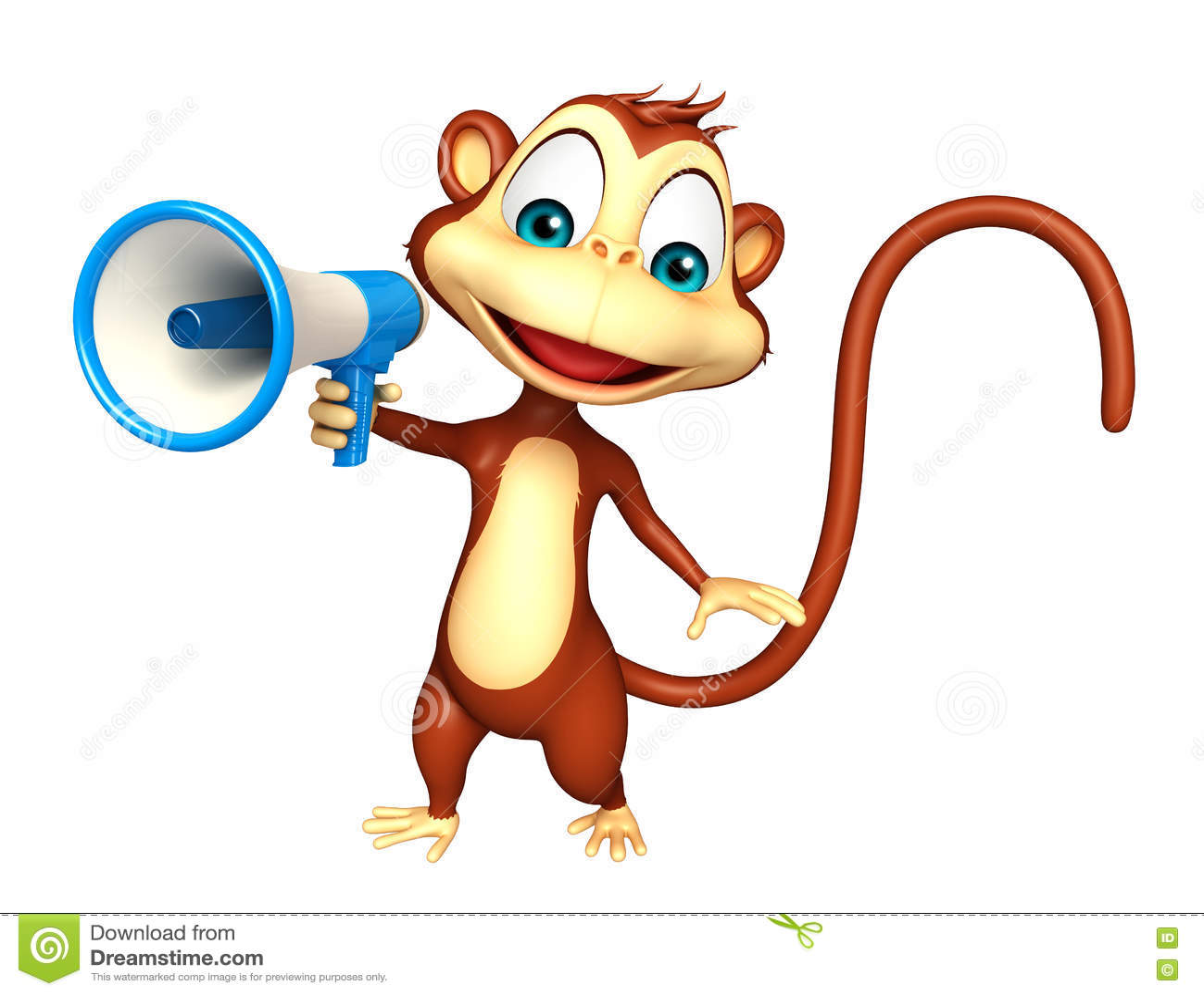 Cute Monkey Cartoon Character With Loud Speaker Stock Illustration ...
