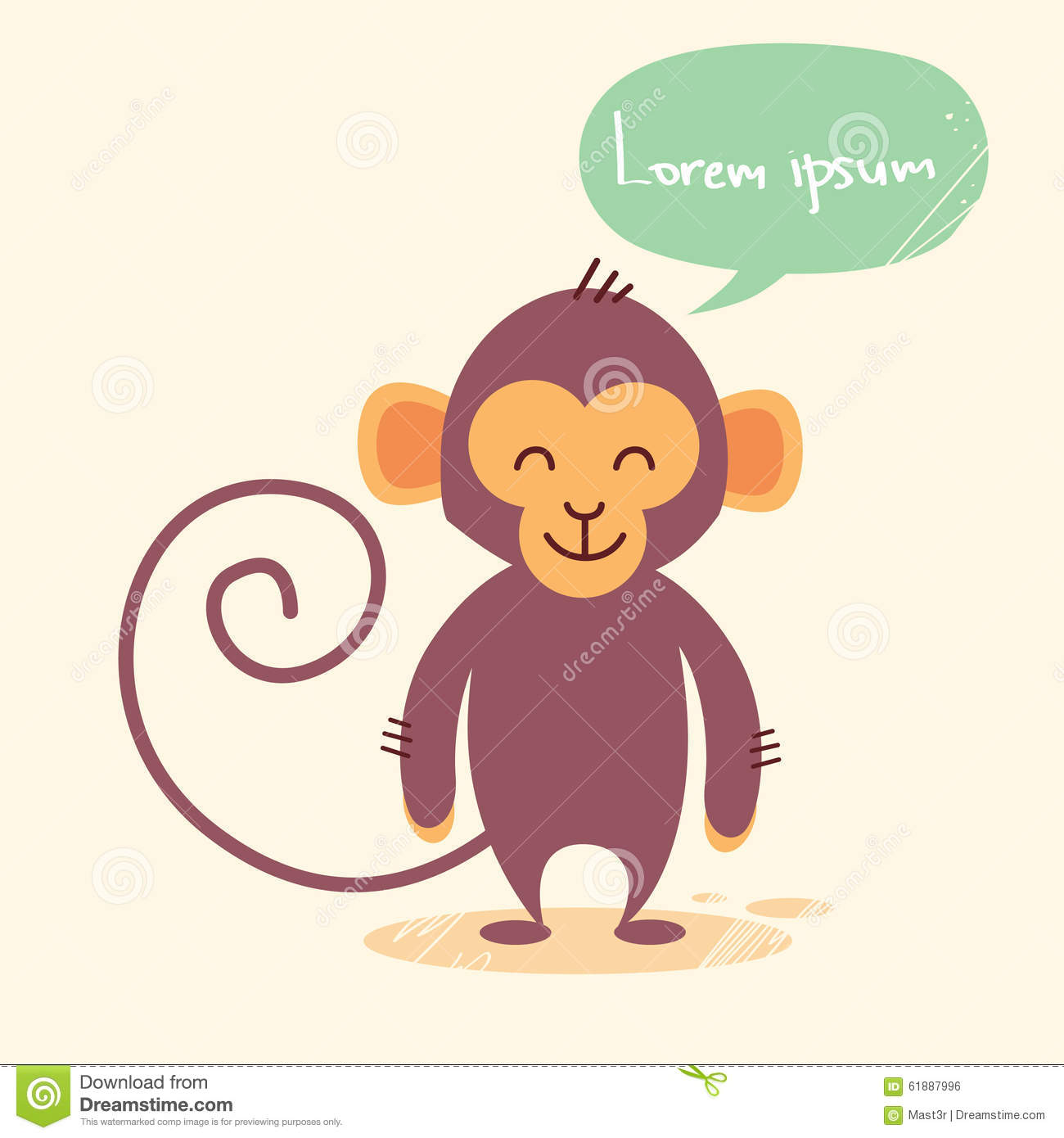 Cute Monkey Cartoon Chat Bubble Drawing Stock Vector Illustration