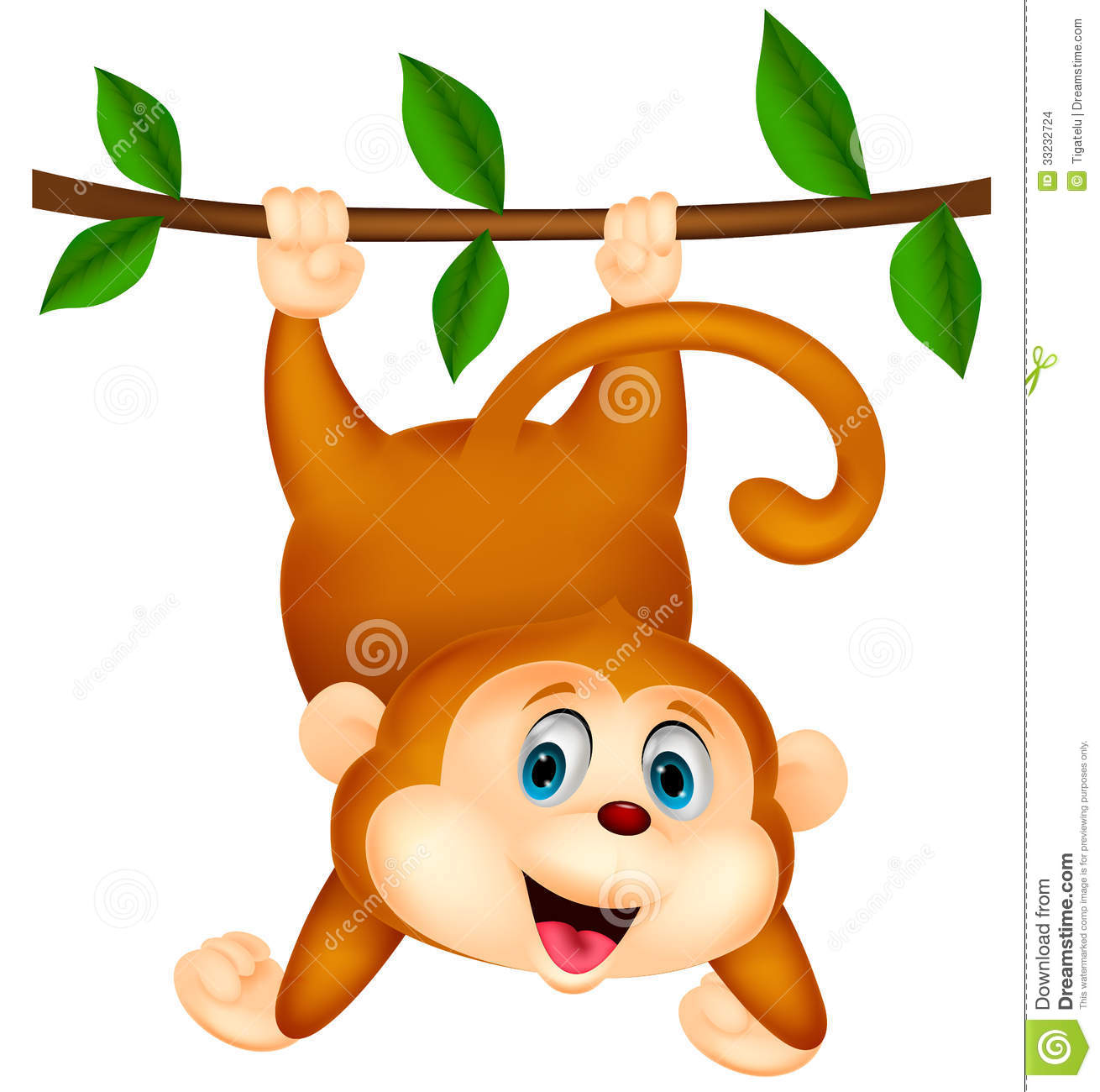 Images for simple cartoon monkey hanging - Cute Monkey Cartoon Hanging Stock Images