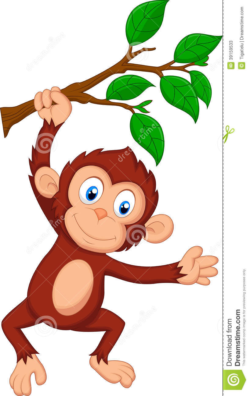 Cute Monkey Cartoon Hanging Stock Vector - Image: 39159533