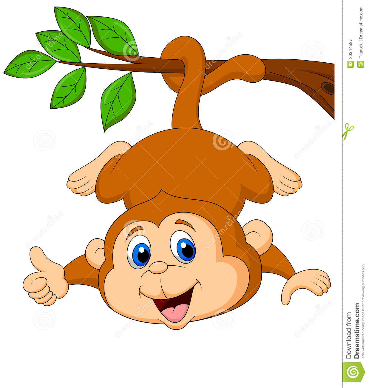 Images for simple cartoon monkey hanging - Cute Monkey Cartoon Hanging On A Tree Branch With Thumb Up Royalty Free Stock Photography