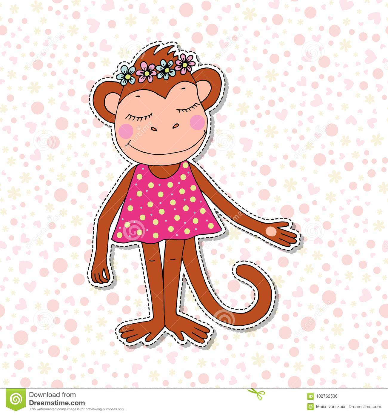 Cute Colorful Cartoon Monkey In Pink Dress Stock Vector ...