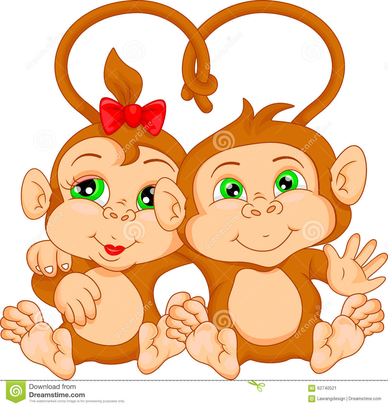 Cute cartoon monkey love - photo#10