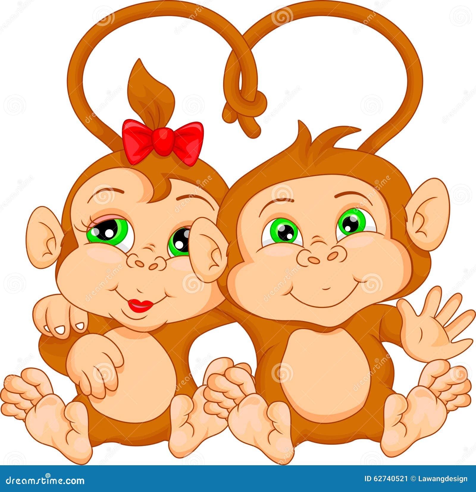 Cute Monkey Couple Cartoon Stock Vector - Image: 62740521