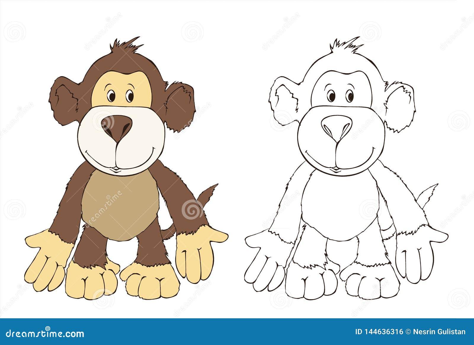 Cute Monkey Friend , Toy Monkey, Coloring Book Illustration ...