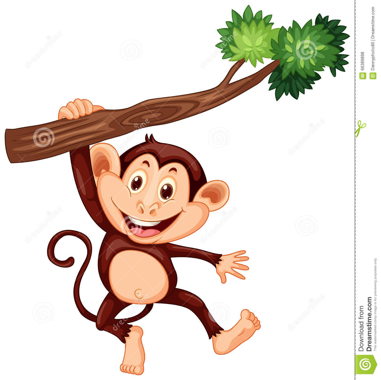 cute monkey hanging on the branch stock vector image hanging monkey clipart png Three Monkeys Clip Art