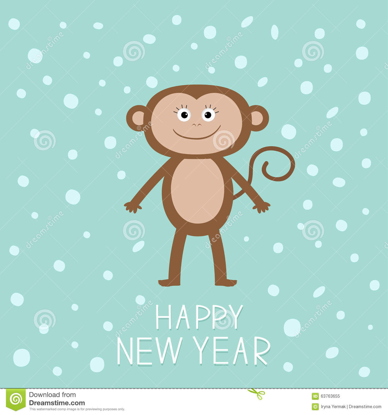 cute monkey on snow background happy new year 2016 baby illustration greeting card