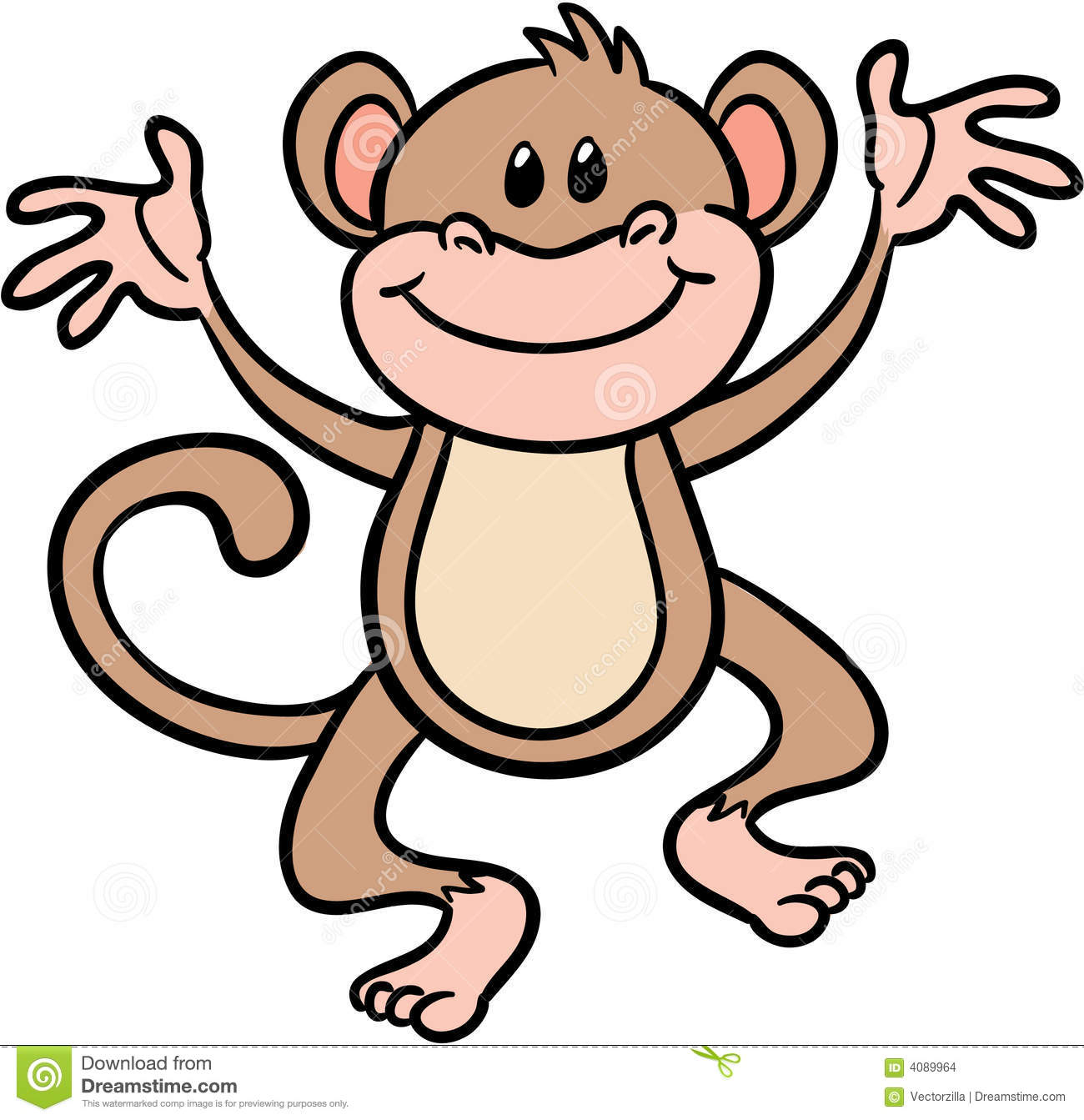 Cute Monkey Vector Illustration Stock Images - Image: 4089964