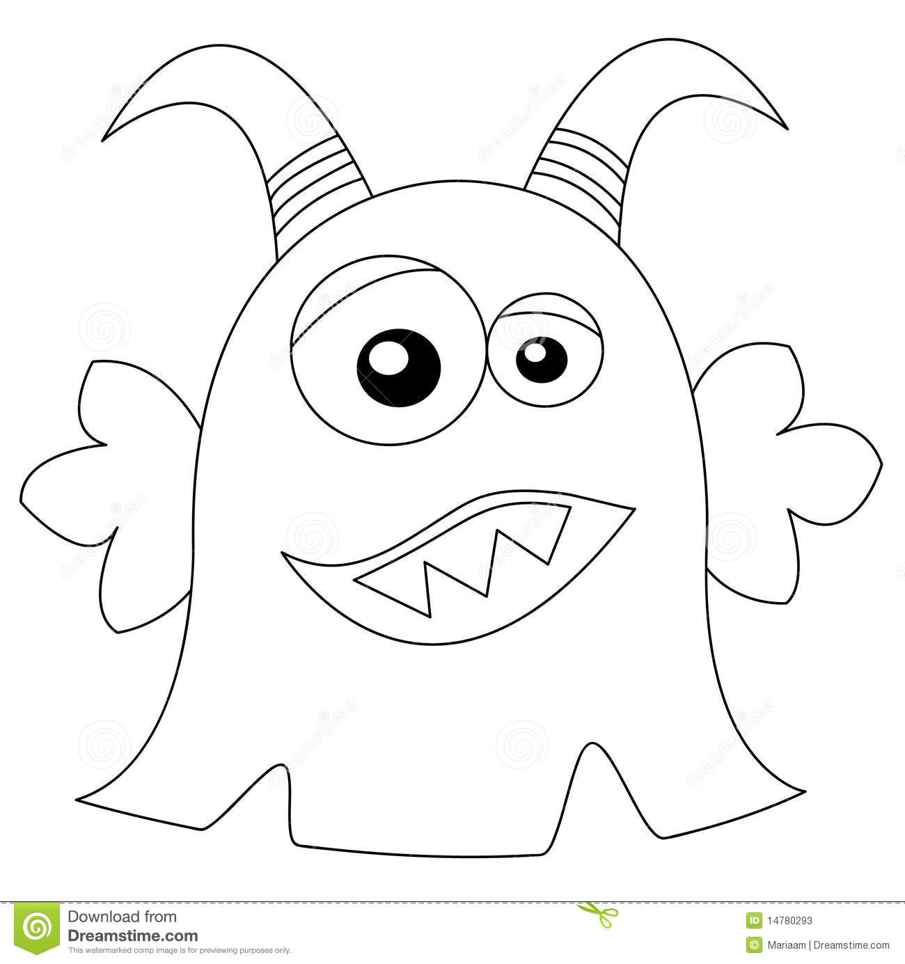 Cute monster in black white stock illustration for Mosnter template