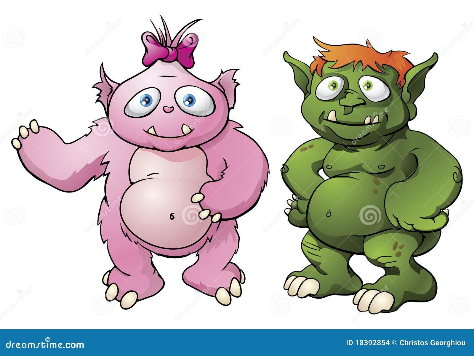 Cartoon Characters Cute : Cute monster cartoon characters stock vector