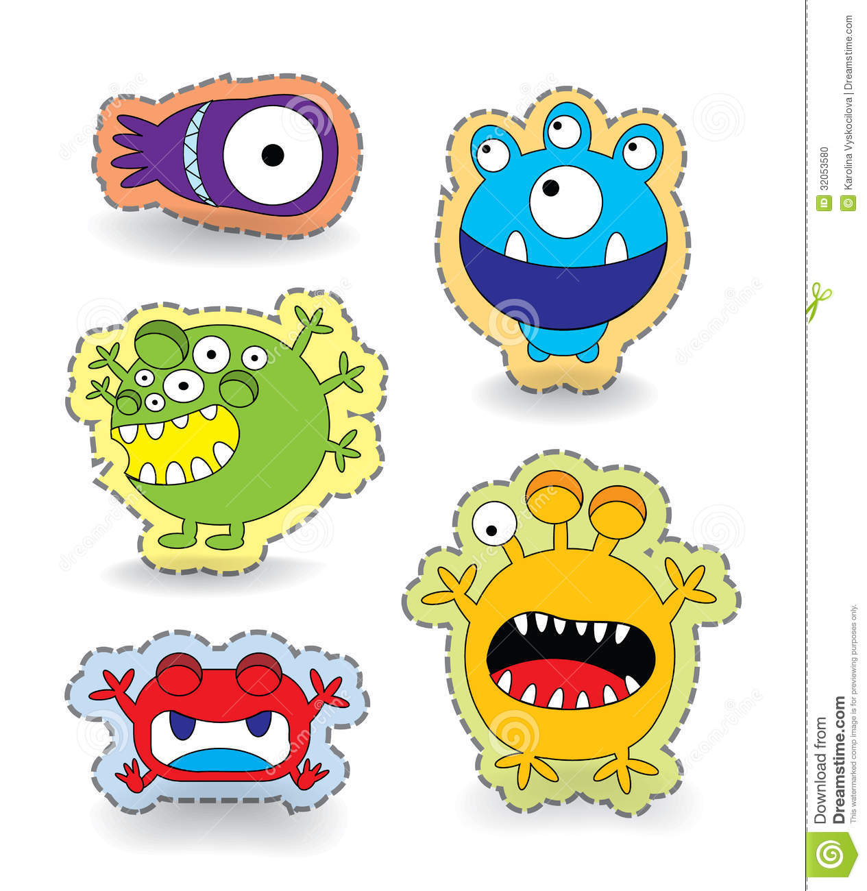 cute monster collection set sticker stock vector illustration of