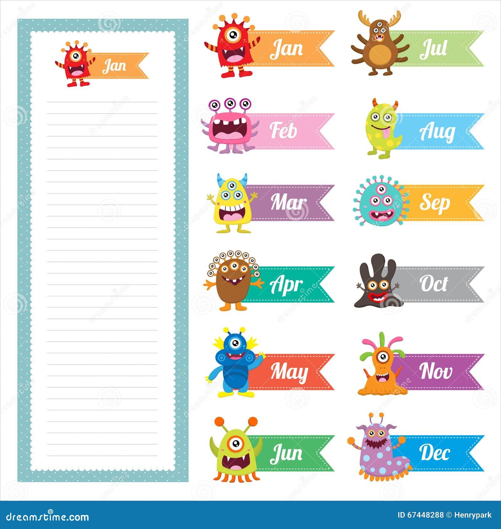 cute monster diary memo card stock vector image 67448288 cute monster diary memo card