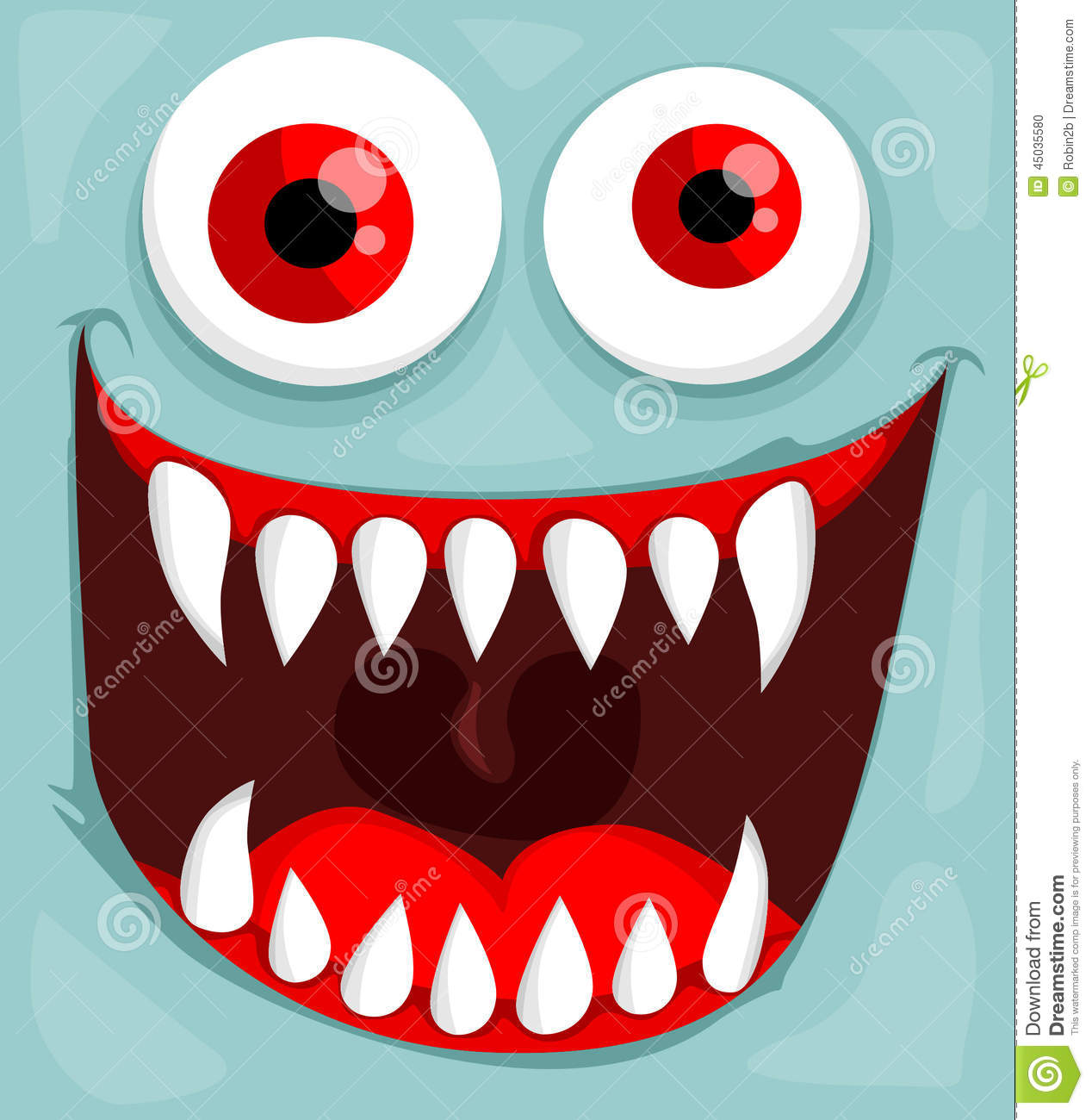 Cute monster face vector illustration background.