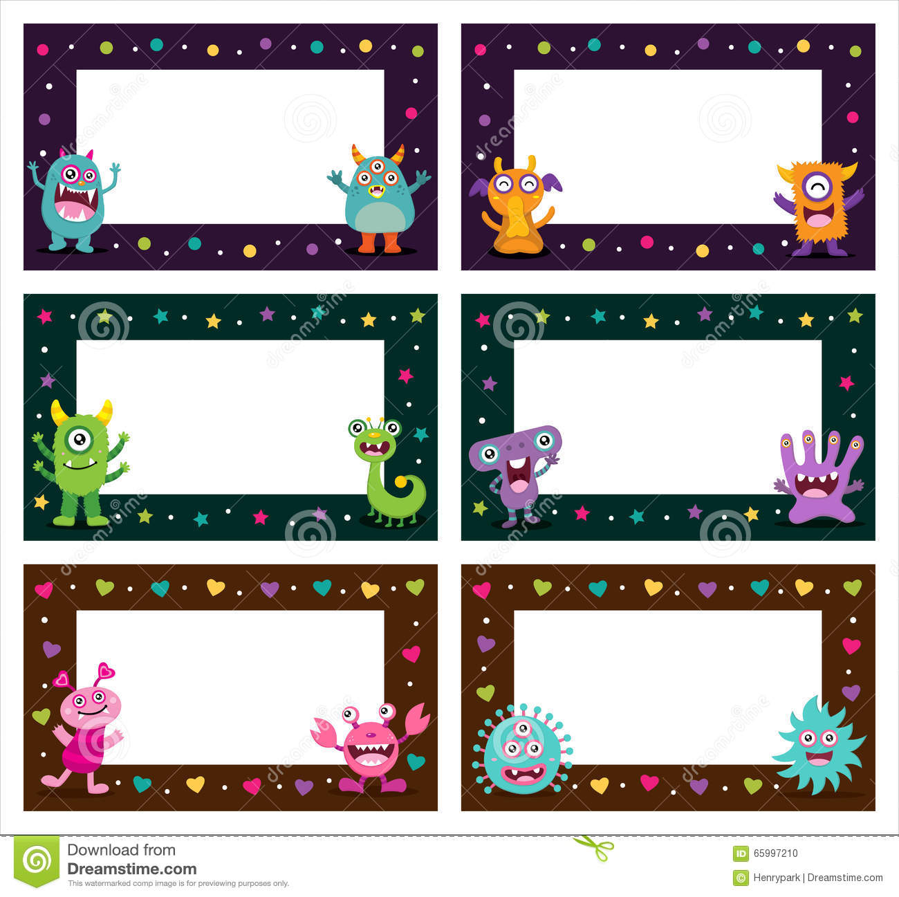 Cute Monster Frames Templates Stock Vector - Illustration of card ...
