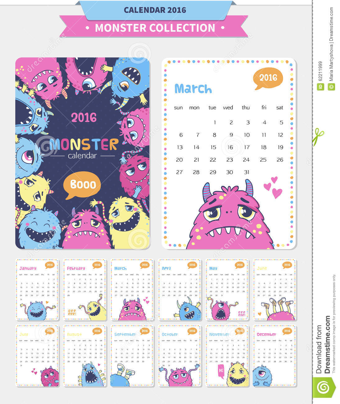 Cute Calendar Illustration : Cute monster illustration stock vector image