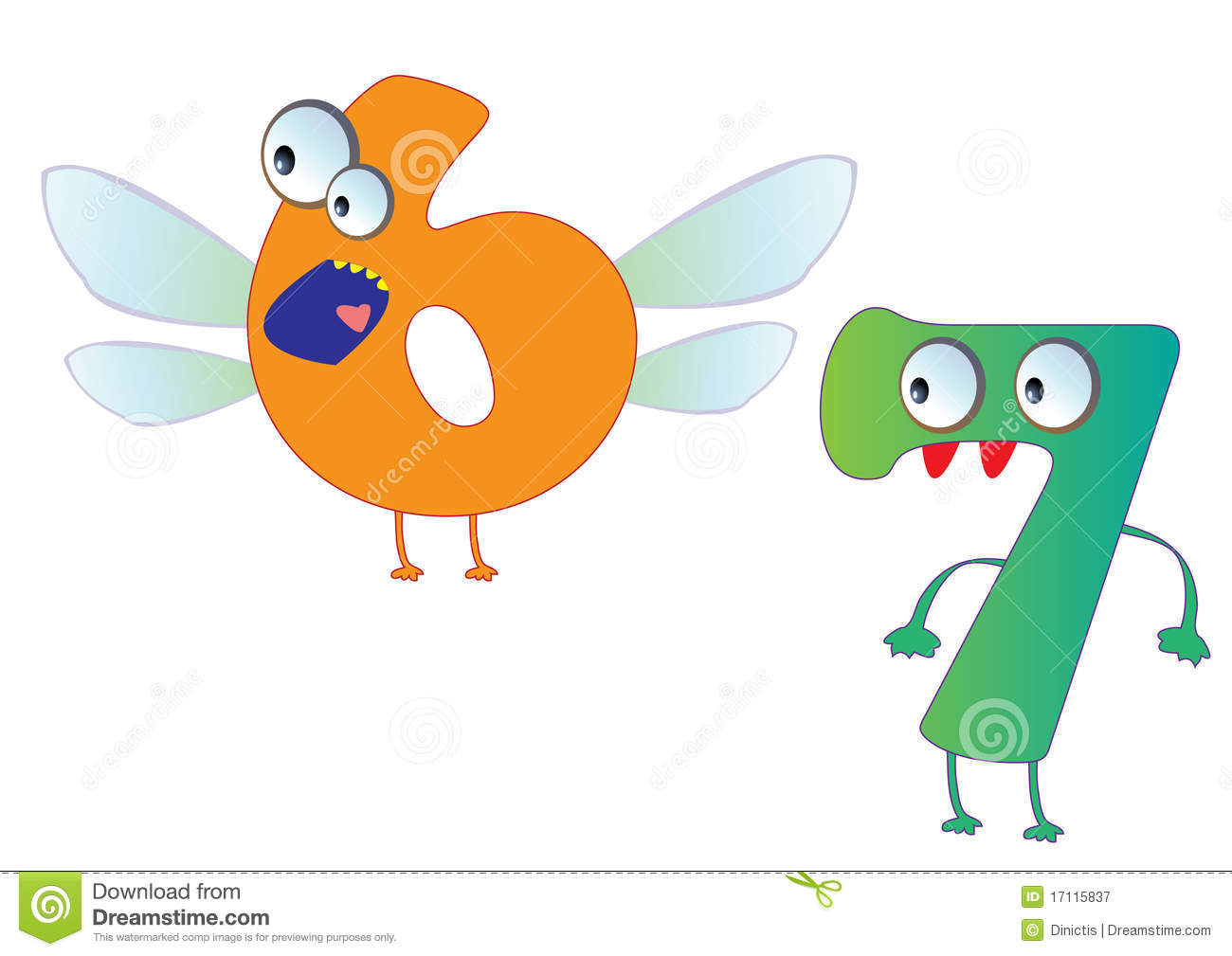 cute monster numbers 6 and 7 for kids and children