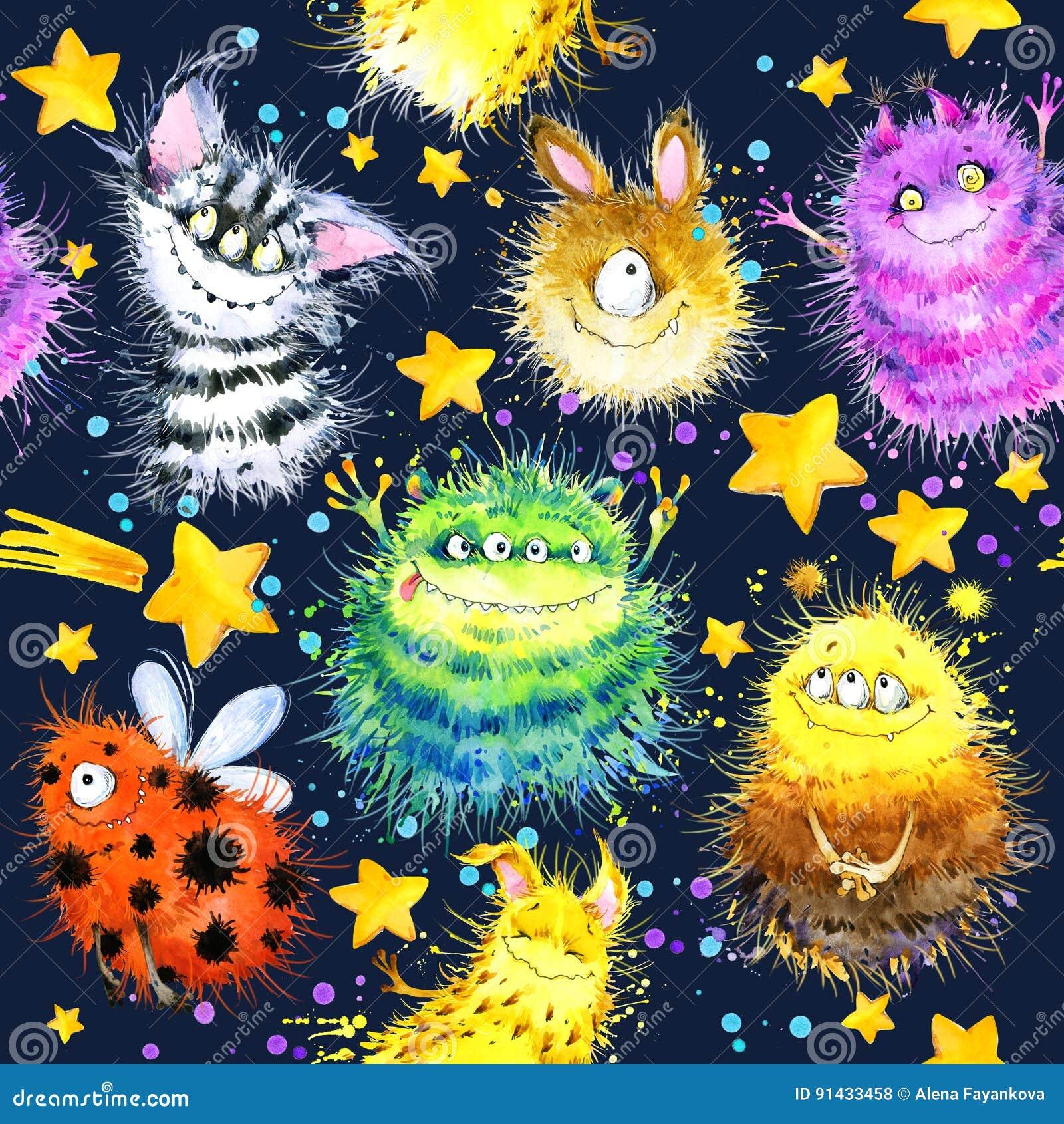 Cute monster seamless pattern. watercolor cartoon space illustration. rocket. Flying saucer. alien