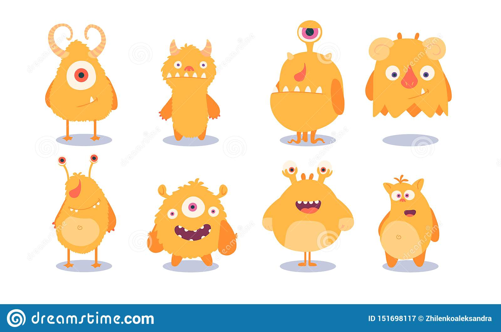 Cute set of monsters. vector illustration isolated on white