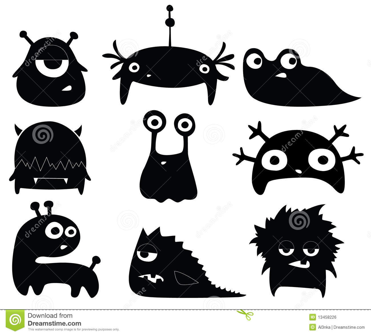 Cute Monsters Royalty Free Stock Image - Image: 13458226