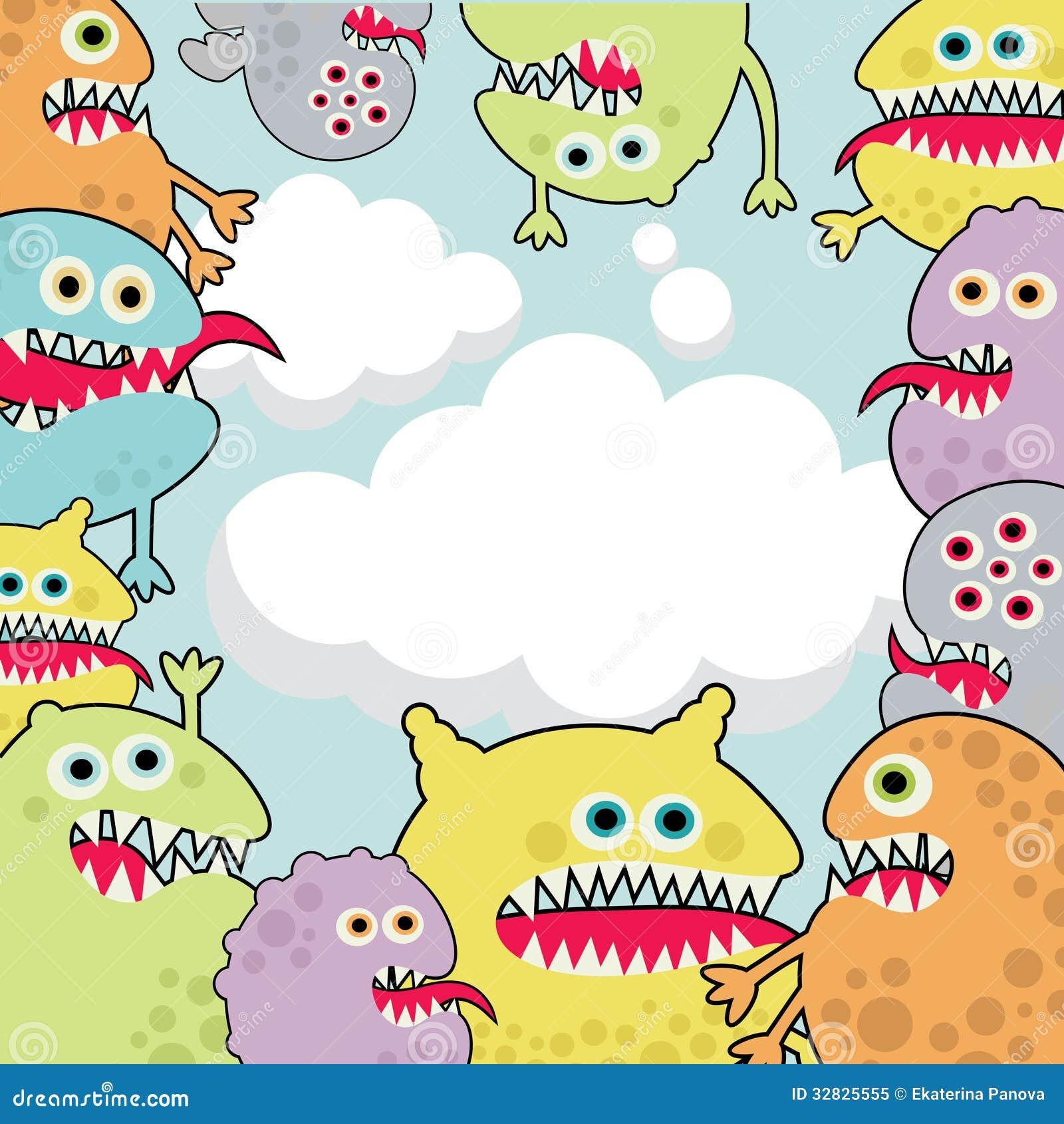 Cute monsters banner cloud shape.
