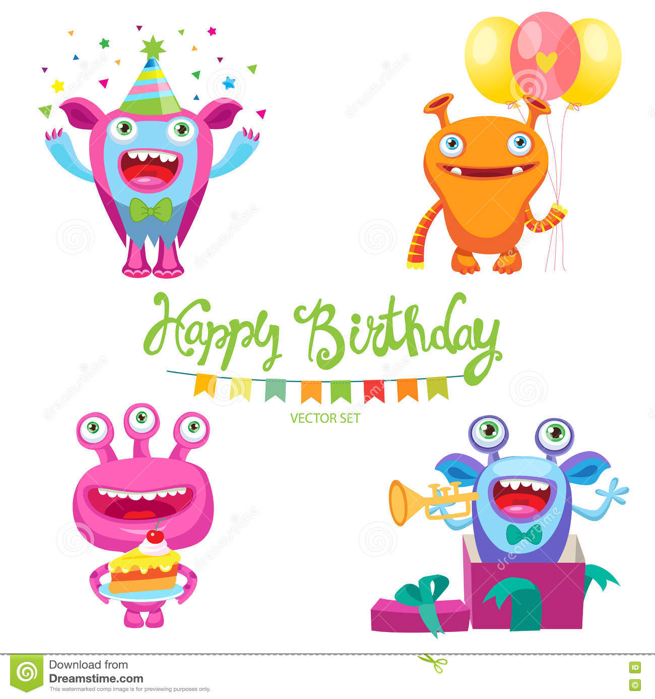 Cute Monsters For Birthday Card Inside Me Aliens Parties Space