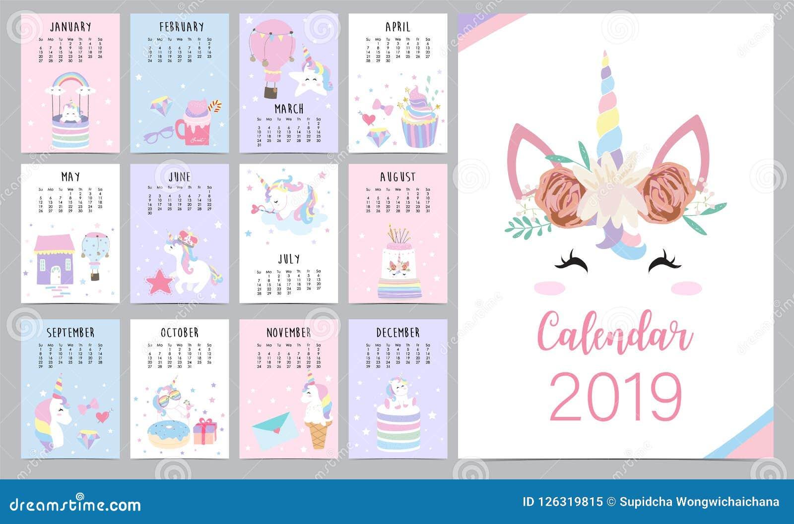 Calendario Rainbow.Cute Monthly Calendar 2019 With Head Unicorn Diamond Heart